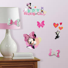 roommates 5 in x 11 5 in minnie mouse happy helpers 9 piece peel minnie mouse happy helpers 9 piece peel and stick wall decals with 5 3d embellishments rmk3484scs the home depot
