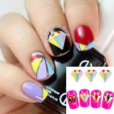 1 49 3pcs 3d nail sticker colorful diamond shape alloy nail art