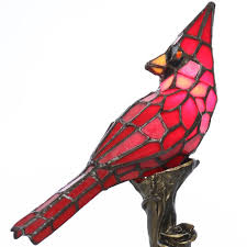 tiffany style stained glass table lamp 13 5 inch red cardinal