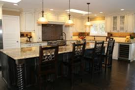 brown cherry wood cabinets white stained wooden island black full