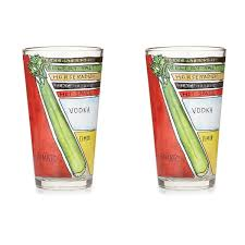 Unique Barware Bloody Mary Diagram Glassware Set Of 2 Unique Barware Gift