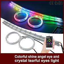 ring light effect app tcart car led headlight rgb angel eyes auto app control drl halo