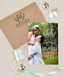 newlywed cards merry and married script photo card photo