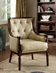 Living Room Occasional Chairs by Santi English Style Tuft Faux Leather Accent Chair Accent Chairs