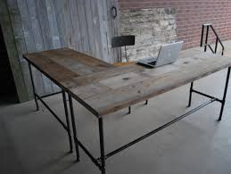 rustic l shaped unfinish wooden desk with steel pipe table legs