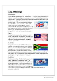Flag Color Meanings The Meaning Of Flags Worksheet Free Esl Printable Worksheets