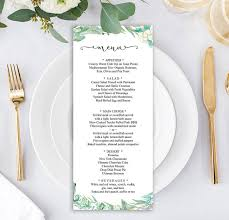 rustic greenery wedding wedding menu template printable menu