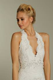 lace halter deep v neck wedding dress with embellished sash