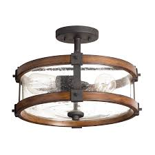 Flush Lighting Fixtures Barrington 3 Light Semi Flush Mount In Distressed Black Metal And Wood