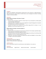 exle resume for application mobile application developer cv ctgoodjobs powered by career times
