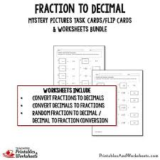 fraction to decimal task cards and worksheets bundle printables