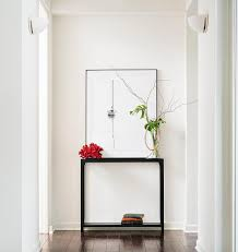 White Hallway Console Table Sleek Black Console Table With Art Transitional Entrance Foyer