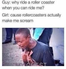 Roller Coaster Meme - guy why ride a roller coaster when you can ride me girl cause