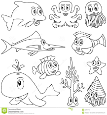 coloring marine animals 1 stock vector image 9248442