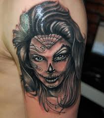 biomechanical tattoo face day of the dead girl face tattoo on left shoulder dia de los