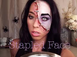 halloween look half stapled face youtube