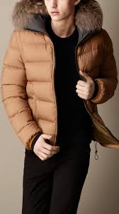 burberry fur trim downfilled puffer jacket in brown for men lyst