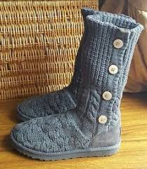 womens grey boots size 9 details about ugg womens leland cotton wool blend knit grey boots