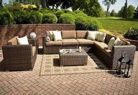 Patio Table L Furniture Astounding L Shaped Woodard Patio Wicker Furniture Sets