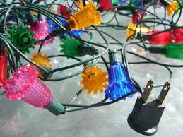 lot old midget christmas tree lights fancy plastic flower reflectors