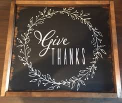 60 give thanks with a laurel wreath is solid wood hand painted