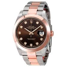rolex datejust 41 chocolate diamond dial steel and 18k rose gold