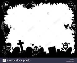 hand drawing cartoon halloween frame with cute ghost silhouettes