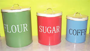 3 metal tin kitchen canisters by ross flour sugar u0026 coffee made to