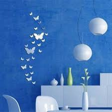 Home Decoration Wall Stickers 30pcs Butterfly Silver Acrylic Mirror Wall Sticker 3d Diy Art Home