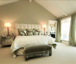 bedroom modern themed neutral bedroom with high headboard also