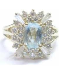 aquamarine diamond ring deal alert pre owned 14k yellow gold gem aquamarine diamond ring