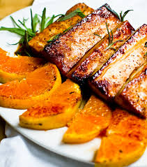 citrus tamari tofu steaks with warm satsumas rosemary