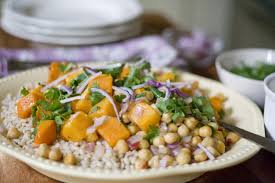 butternut squash recipe for thanksgiving roasted butternut squash over farro and chickpeas with toasted