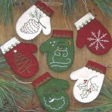 sweet mitten ornaments made from recycled felted wool sweaters