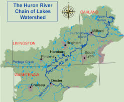 Map Of Michigan Lakes Huron Watershed History Of The Huron River Chain Of Lakes