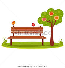 lone wooden bench tree falling yellow stock vector 717957145