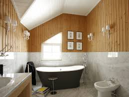 small design ideas of bathroom in country house wooden paneling