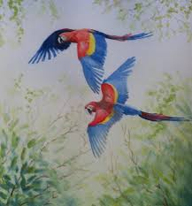 themed paintings jungle and rainforest of costa rica macaw paintings