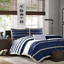 Teen Comforter Set Full Queen by Sporty Blue White Navy Tan Boys Stripe Soft Comforter Set Full