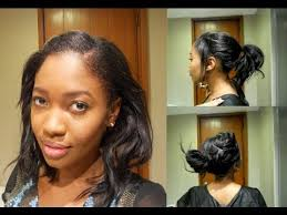 simple hairstyles for relaxed hair easy heatless hairstyles relaxed hair short or medium youtube
