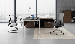 Modern Office Table With Glass Top Modern Office Table In Steel U0026 Black Glass Boss U0027s Cabin