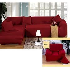 Dog Sofa Cover by Pure Red Color Corner Sofa Cover Stretch L Shaped Couch Pet Dog