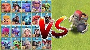 clash of clans all troops skeleton army vs heroes and troops clash of clans all heroes vs
