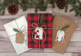 christmas plaid wrapping paper mixing christmas prints with kraft white packaging