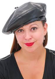 barret hat black leather beret h7artk