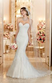 lace over satin fit and flare wedding dress stella york