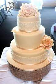 Hard Sugar Cake Decorations 3 Tier Wedding Cake With Edible Lace Sugar Rose Bouquet And Rose