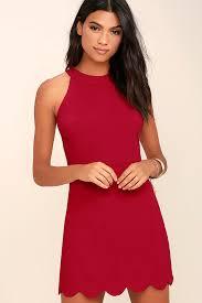 cute wine red dress scalloped dress sheath dress 52 00