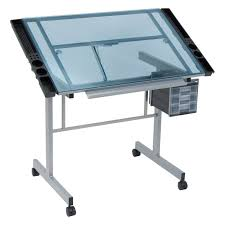 Studio Drafting Table by Studio Designs Vision Craft Station With Glass Top Plus Rolling