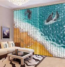 Teal Living Room Curtains Dolphin Ocean 3d Window Curtains For Bedding Room Curtains For